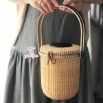 ナンタケットバスケット教室品川6ラウンドパース蓋つきバスケットきれいな編み目の作り方お出かけバッグ岩瀬