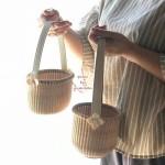 ナンタケットバスケット教室姫路双子コーデお花モチーフのバッグリメイク水田